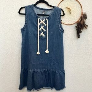 AERIE Mini Denim Dress Rope Lace Front Size Small